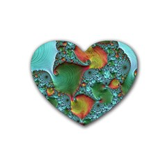 Fractal Art Colorful Pattern Heart Coaster (4 Pack)