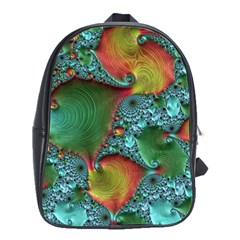 Fractal Art Colorful Pattern School Bag (large)
