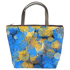 Circle Rings Abstract Optics Bucket Bag by Simbadda