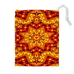 Kaleidoscope Mandala Recreation Drawstring Pouch (xl) by Simbadda