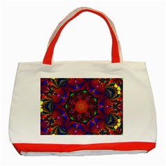 Kaleidoscope Mandala Pattern Classic Tote Bag (red)