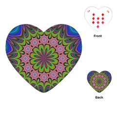 Floral Fractal Star Render Playing Cards (heart) by Simbadda