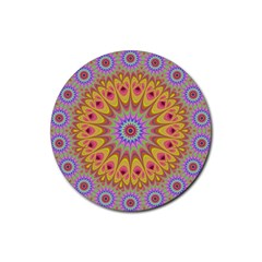 Geometric Flower Oriental Ornament Rubber Coaster (round)