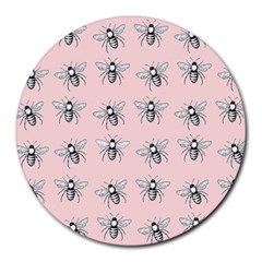 Pop Art  Bee Pattern Round Mousepads by Valentinaart
