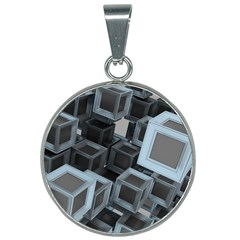 3d Cube Fantasy Square Shape 25mm Round Necklace
