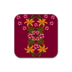 Blossom Yellow Flower Yellow Summer Rubber Coaster (square)