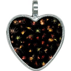 Fireworks Christmas Night Dark Heart Necklace by Simbadda