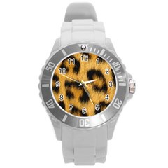 Animal Print Leopard Round Plastic Sport Watch (l) by NSGLOBALDESIGNS2
