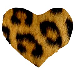 Animal Print Leopard Large 19  Premium Heart Shape Cushions by NSGLOBALDESIGNS2