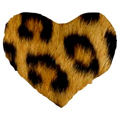 Animal Print Large 19  Premium Flano Heart Shape Cushions by NSGLOBALDESIGNS2