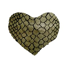 Snake Print Standard 16  Premium Flano Heart Shape Cushions by NSGLOBALDESIGNS2