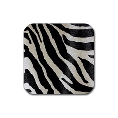 Zebra Print Rubber Coaster (square)  by NSGLOBALDESIGNS2