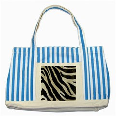 Zebra Print Striped Blue Tote Bag by NSGLOBALDESIGNS2