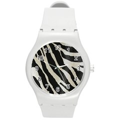 Zebra Print Round Plastic Sport Watch (m) by NSGLOBALDESIGNS2