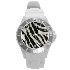 Zebra Print Round Plastic Sport Watch (l) by NSGLOBALDESIGNS2