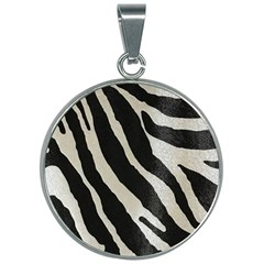 Zebra Print 30mm Round Necklace by NSGLOBALDESIGNS2