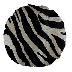 Zebra Print Large 18  Premium Flano Round Cushions by NSGLOBALDESIGNS2