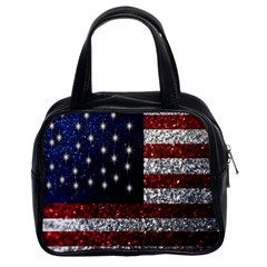 American Flag In Glitter Graphic Classic Handbag (two Sides) by bloomingvinedesign