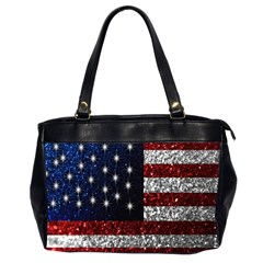 American Flag In Glitter Graphic Oversize Office Handbag (2 Sides) by bloomingvinedesign