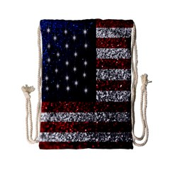 American Flag In Glitter Graphic Drawstring Bag (small) by bloomingvinedesign