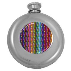 Background Wallpaper Psychedelic Round Hip Flask (5 Oz) by Samandel