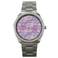 Purple Background Abstract Pattern Sport Metal Watch