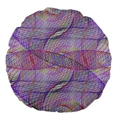Purple Background Abstract Pattern Large 18  Premium Flano Round Cushions