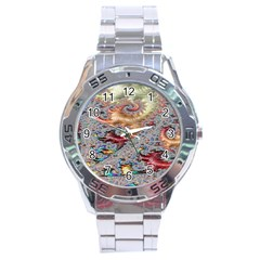 Fractal Artwork Design Pattern Stainless Steel Analogue Watch