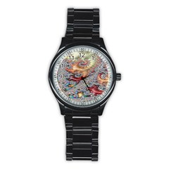 Fractal Artwork Design Pattern Stainless Steel Round Watch