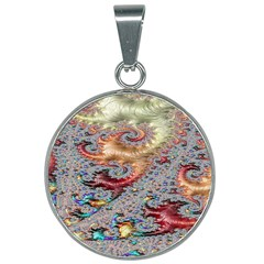 Fractal Artwork Design Pattern 25mm Round Necklace by Samandel