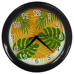 Leaf Leaves Nature Green Autumn Wall Clock (black)