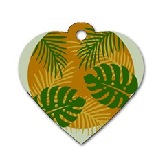 Leaf Leaves Nature Green Autumn Dog Tag Heart (two Sides)