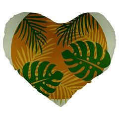 Leaf Leaves Nature Green Autumn Large 19  Premium Heart Shape Cushions by Samandel
