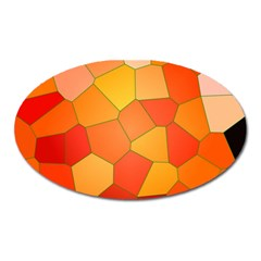 Background Pattern Of Orange Mosaic Oval Magnet