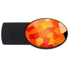 Background Pattern Of Orange Mosaic Usb Flash Drive Oval (2 Gb)