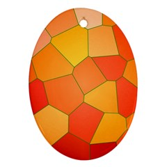 Background Pattern Of Orange Mosaic Oval Ornament (two Sides)
