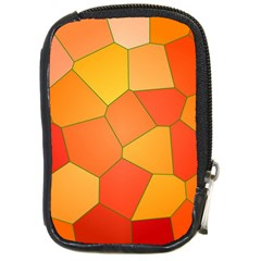 Background Pattern Of Orange Mosaic Compact Camera Leather Case by Samandel