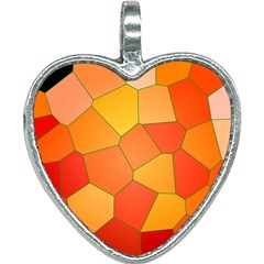 Background Pattern Of Orange Mosaic Heart Necklace by Samandel