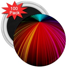Background Color Colorful Rings 3  Magnets (100 Pack)