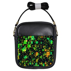 Squares And Rectangles Background Girls Sling Bag