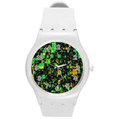Squares And Rectangles Background Round Plastic Sport Watch (m) by Samandel