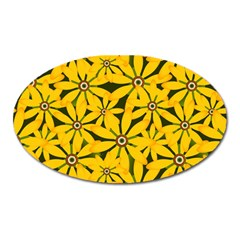 Texture Flowers Nature Background Oval Magnet
