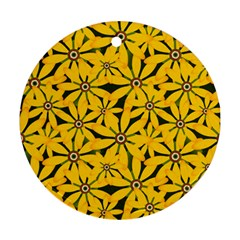 Texture Flowers Nature Background Round Ornament (two Sides)