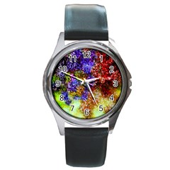 Splashes Of Color Background Round Metal Watch
