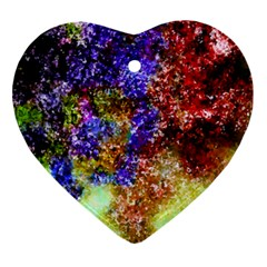Splashes Of Color Background Heart Ornament (two Sides)