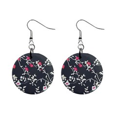 Black And White Floral Pattern Background Mini Button Earrings