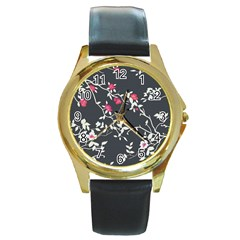 Black And White Floral Pattern Background Round Gold Metal Watch