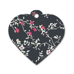 Black And White Floral Pattern Background Dog Tag Heart (two Sides)