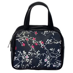 Black And White Floral Pattern Background Classic Handbag (one Side)