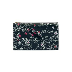 Black And White Floral Pattern Background Cosmetic Bag (small)